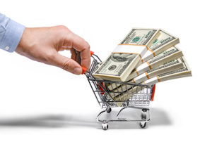 money in shopping basket being pushed_21645665_l